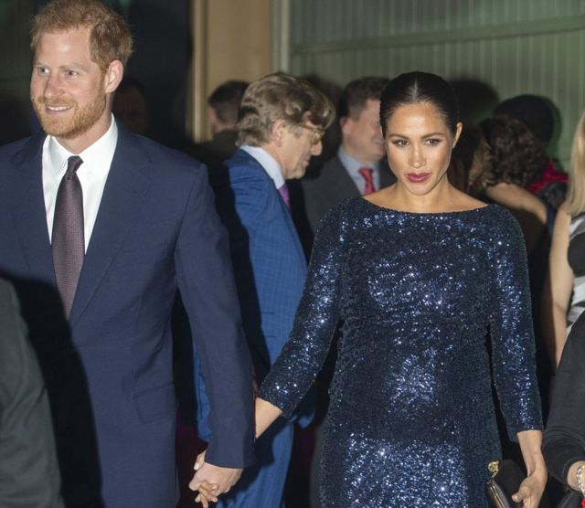 "Prince Harry, Duke of Sussex and Meghan, Duchess of Sussex attend the Cirque du Soleil Premiere Of ""TOTEM"" at Royal Albert Hall on January 16, 2019 in London, England."
