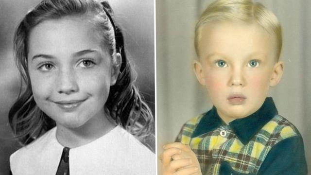 少女時代のクリントン氏と4歳のトランプ氏。