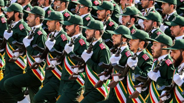 Members of Iran's Islamic Revolution Guards Corps (IRGC) at a parade. Photo: September 2018