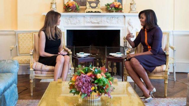 ميشل أوباما في اجتماع مع زوجة ترامب