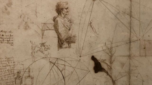 """A """"pen and brown ink on paper"""" drawing by Leonardo da Vinci, created circa 1490 and on loan from The Royal Collection"""