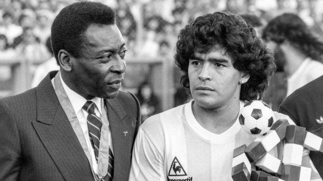 Pelé e Maradona em foto de 1987