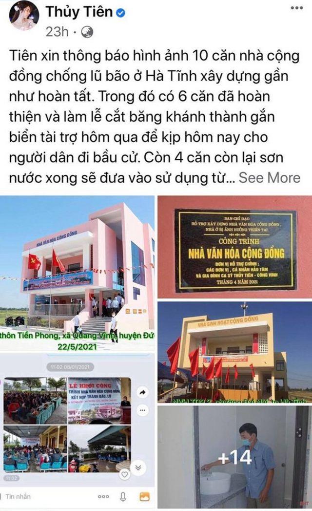 Ca sỹ Thủy Tiên thông báo đã cho xây gần xong 10 nhà chống lũ ở Hà Tĩnh