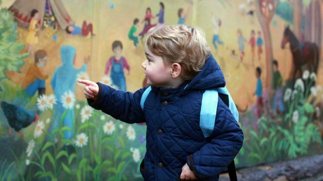 Prince George outside nursery on his first day