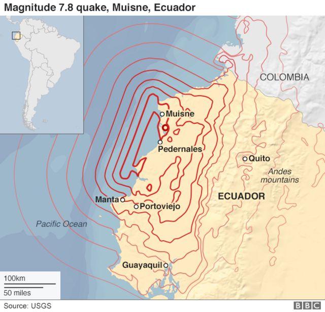 エクアドル・ムイスネ近郊を震源にM7.8の地震が起きた