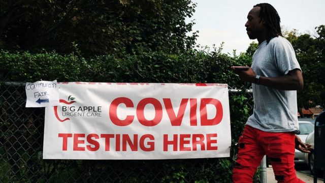 Covid-19 testing station in New York. 14 Sept 2020