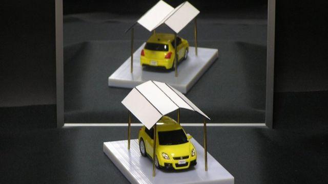 """""""Techo ambiguo de garaje"""", es el título de esta ilusión óptica del matemático e ingeniero japonés Kokichi Sugihara, mago de los objetos imposibles."""