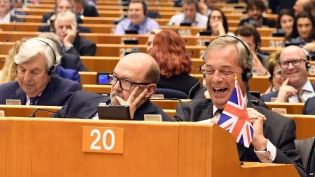 Leader of UKIP Nigel Farage, front right, attends a special session of the European Parliament in Brussels