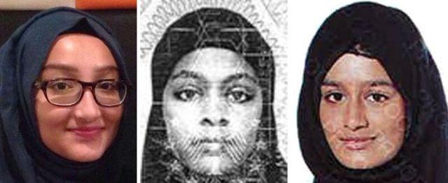 2015년 샤미마 비검을 따라 IS 가입을 위해 영국을 떠난 카디자 술타나, 아미라 어베이스 (왼쪽부터 2명)