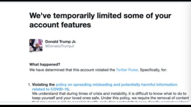 Donald Trump Jr. temporarily restricted on Twitter after sharing COVID-19 'misinformation'
