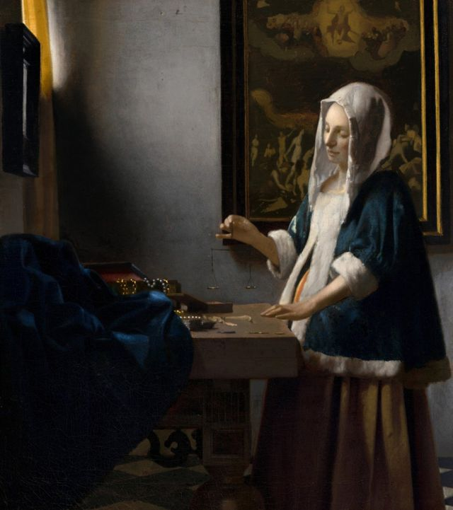 Quadro 'Mulher segurando uma balança' 1662-1665