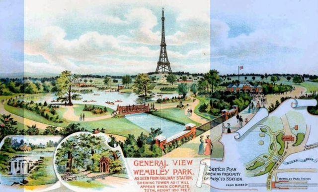 Ilustração da torre e do parque