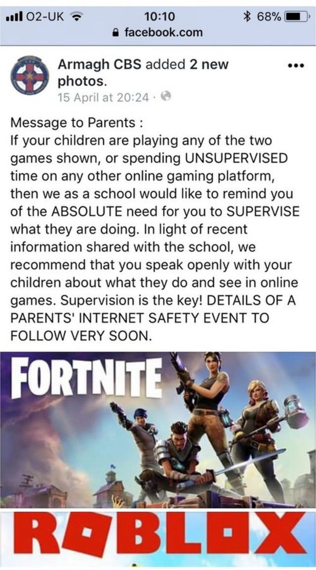 I Play Fortnite Roblox Id School Warns Over Roblox And Fortnite Online Games Bbc News