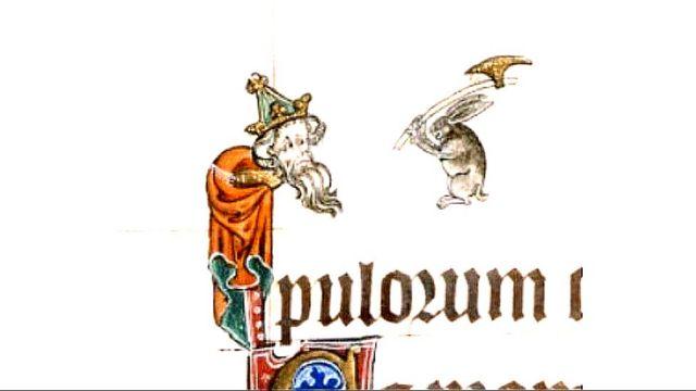 Conejo amenazando a un rey con un hacha
