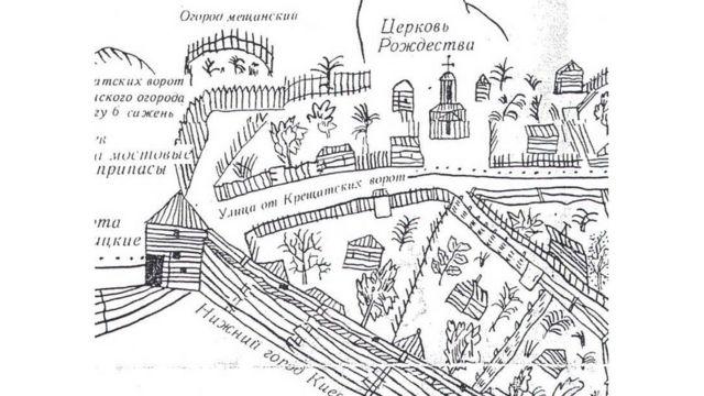Фрагмент плана Киева, 1695 год