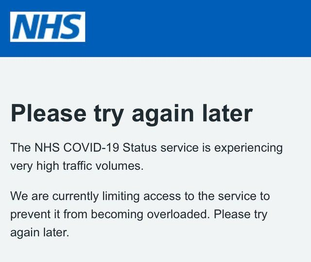 The notice users are seeing on the NHS app