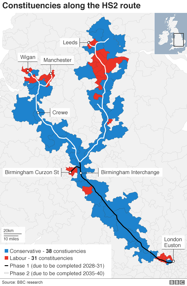 Map of constituencies along HS2 route