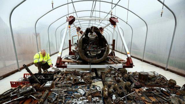 在1940年被击落后,这架道尼尔17轰炸机在古德温暗沙的海床上沉睡了70年