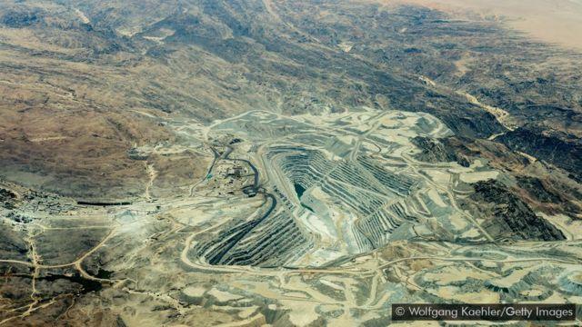 Mina de urânio Rossing, localizada no Deserto da Namíbia