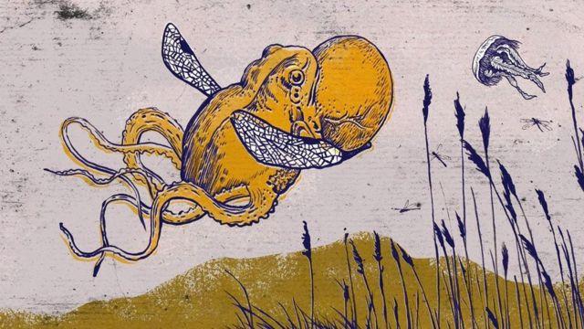 Ilustração de animal que combina polvo e sapo, com asas