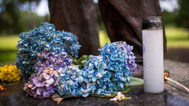 Flores y una vela en Carolina del Sur.