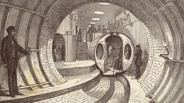 Рисунок 1872 года иллюстрирует предложение построить под Бродвеем в Нью-Йорке подземную пневматическую железную дорогу