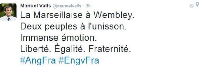 フランスのバルス首相は「ウエンブリーでラ・マルセイエーズ。2つの国民が連帯した。とても感動的だ。自由。平等。博愛」とツイート