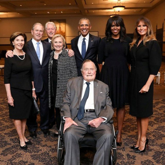 Former US Presidents and former US first ladies Laura Bush, George W. Bush, Bill Clinton, Hillary Clinton, Barack Obama, Michelle Obama, and US first lady Melania Trump posed with former US President George HW Bush at the funeral of former first lady Barbara Bush in Houston, Texas.