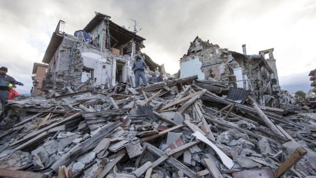 Italy Earthquake August 2016: Rubble in Amatrice, central Italy, following a 6.2 magnitude earthquake, August 24th 2016