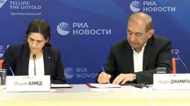 İlham Ahmed ve Kadri Cemil, Mutabakat Metni'ni 31 Ağustos'ta Moskova'da imzaladı