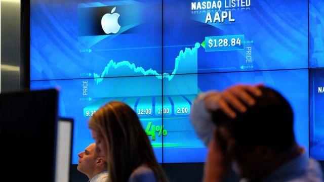 Gráfico de bolsa de Apple.