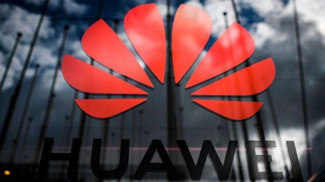 Huawei logo and clouds