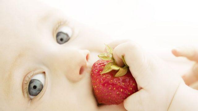Bebé probando fresa