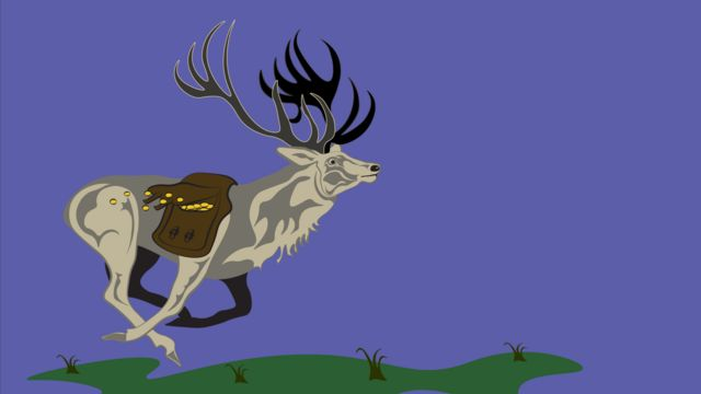 Stag investor with image of a stag with saddle bags laden with money