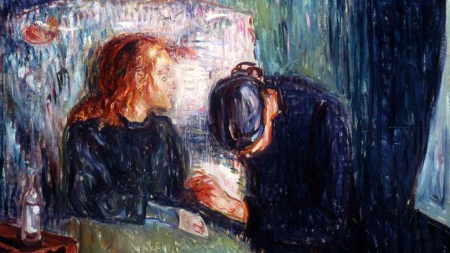 """El pintor noruego Edvard Munch (1863-1944) transmite en su cuadro """"La niña enferma"""" el dolor causado por la muerte de su hermana Johanne Sophie a los 14 años por tuberculosis. El cuadro muestra a la niña enferma en la cama y a su madre cabizbaja junto a su lecho agarrándole la mano."""