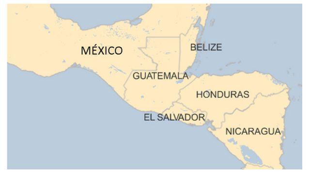 Mapa de México, Guatemala, Belize, Honduras, El Salvador y Nicaragua