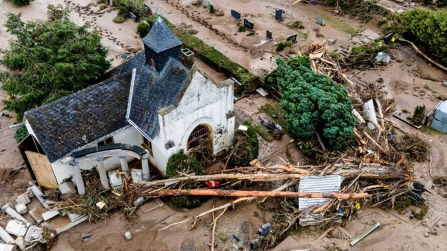 An aerial view taken with a drone shows a cemetery after flooding in Bad Neuenahr-Ahrweiler, Germany, 16 July 2021.