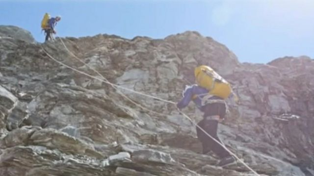 John Churcher on the Eiger in the Swiss Alps