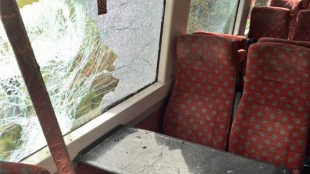 Smashed window, train/tractor crash Roudham