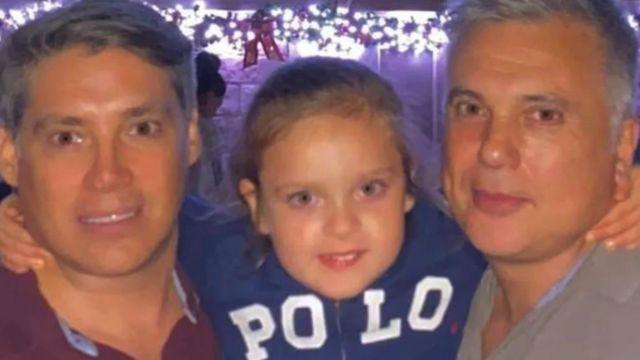 Andrés Galfrascoli, his partner Fabían Núñez and their daughter Sofía