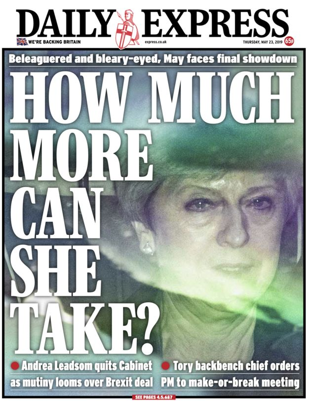 Newspaper headlines: May 'clings on' after 'cabinet coup'