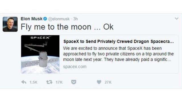 SpaceX'in başında bulunan Elon Musk, Ay ile ilgili yeni projelerini Twitter'dan Frank Sinatra'nın 'Fly Me To The Moon' şarkısına gönderme yaparak duyurdu.