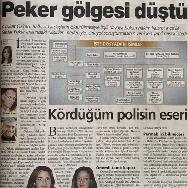 Milliyet gazetesinin cinayetle ilgili bir haberi.