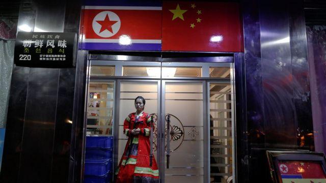 中国丹东的一家朝鲜餐厅