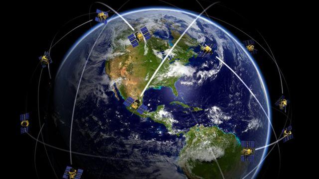 Ilustración de satélites orbitando la Tierra