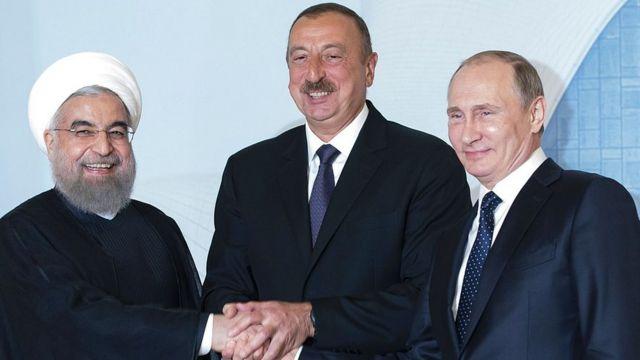 Həsən Ruhani, İlham Əliyev, Vladimir Putin