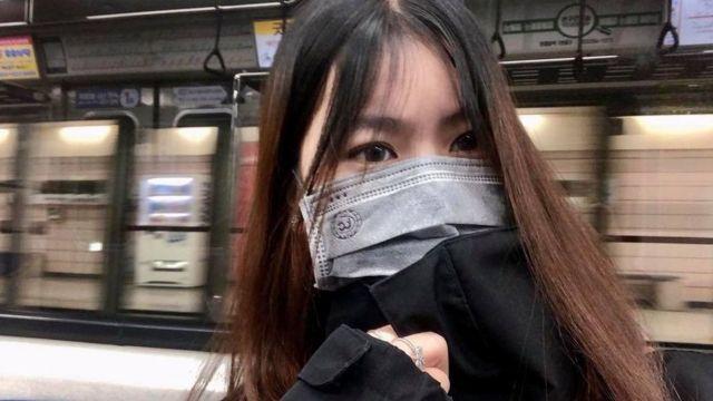 Thùy Trang trên ga tàu ở Daegu