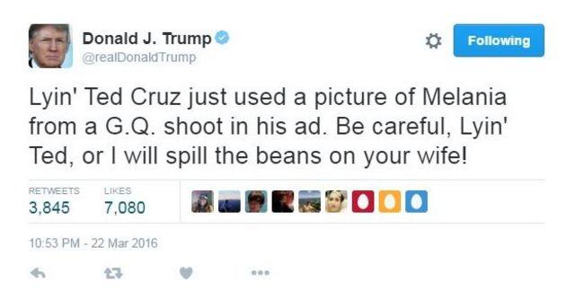「うそつきテッド・クルーズがついさっき、メラニアのGQ写真を広告に使った。気をつけろよ、うそつきテッド。さもないとあんたの女房のことばらすぞ!」とトランプ氏はツイートした