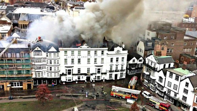 "Fire at ""oldest hotel in England"" in Exeter"