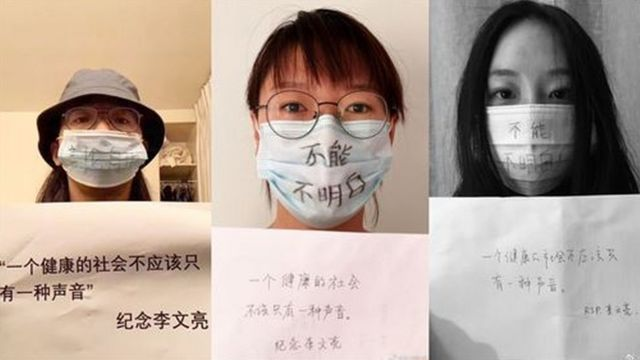 Users show their anger at the death of Dr. Li with masks.